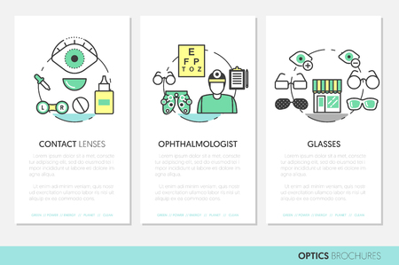 optician: Optician Thin Line Vector Brochures and Business Cards Set with Optometry Technology and Eyeglasses