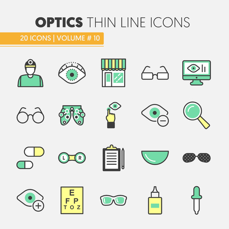optician: Optician Thin Line Vector Icons Set with Optometry Technology and Eyeglasses