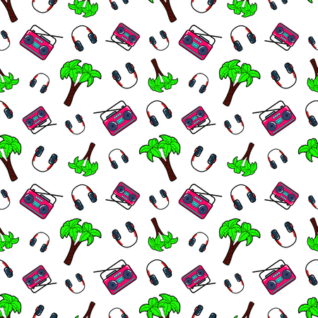 80s adult: Fashion Seamless Comic Style Background with Palms, Headphones and Music Recorders. Vector Retro Pattern
