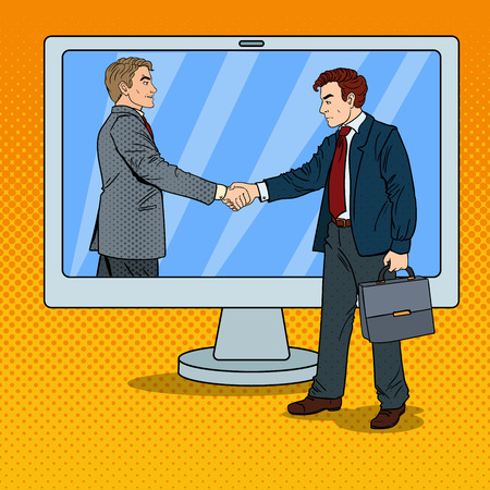 computer art: Pop Art Businessmen Shake Hands Through the Computer Screen. Business Contract. Vector illustration Illustration