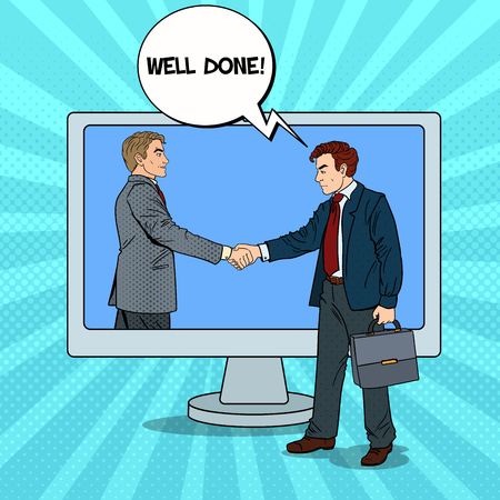 Pop Art Businessmen Shake Hands Through the Computer Screen. Business Contract. Vector illustration Illustration