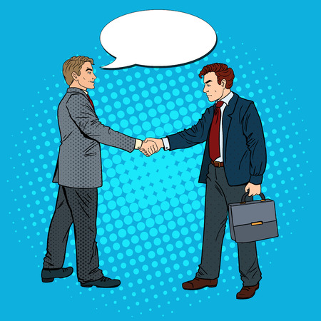 business partner: Pop Art Businessmen Shaking Hands Business Agreement. Vector illustration
