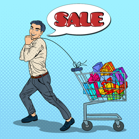 pushcart: Pop Art Happy Man with Shopping Cart full of Gifts on Seasonal Sale. Vector illustration