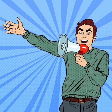 Pop Art Man with Megaphone Promoting Big Sale. Vector illustration Illustration