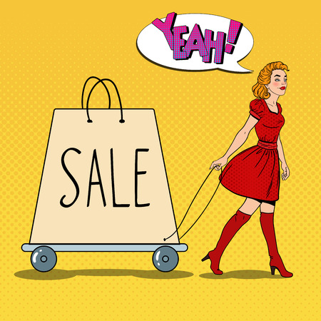 Pop Art Beautiful Woman with Giant Shopping Bag on Sale. Vector illustration Illustration