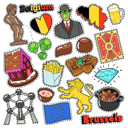 België reis scrapbook stickers, patches, insignes voor prenten met friet, chocolade en Belgische elementen. Komische stijl Vector Doodle
