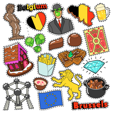 Belgium Travel Scrapbook Stickers, Patches, Badges for Prints with Fries, Chocolate and Belgian Elements. Comic Style Vector Doodle