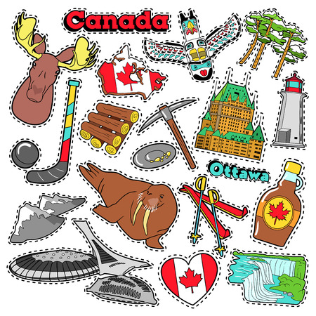 cascade mountains: Canada Travel Scrapbook Stickers, Patches, Badges for Prints with Maple Syrup, Niagara Falls and Canadian Elements. Comic Style Vector Doodle Illustration