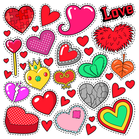 romatic: Hearts Love Badges, Stickers, Patches for Romatic Scrapbook Design. Vector illustration Illustration