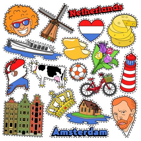 Países Bajos viajes del libro de recuerdos pegatinas, parches, insignias para imprimir con zuecos, queso y Holanda Elementos. Cómica del vector del Doodle Estilo