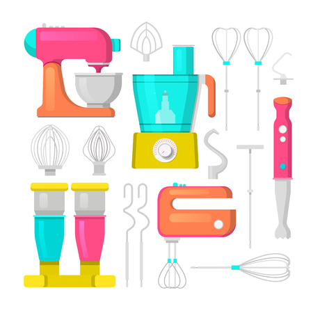 culinary: Kitchen Mixer and Blender Vector Icons Set. Culinary Equipment