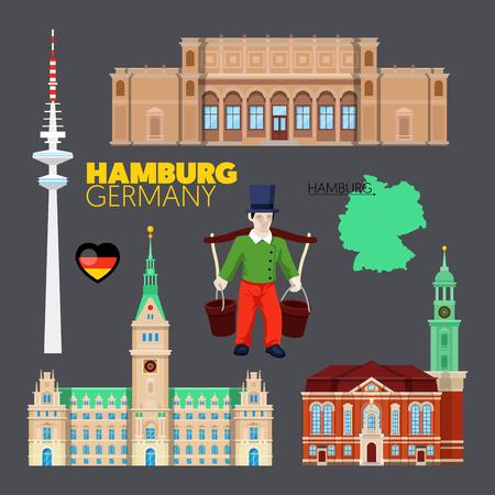 Hamburg Germany Travel Doodle with Hamburg Architecture, Hummel and Flag. Vector illustration Illustration