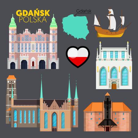 gdansk: Gdansk Poland Travel Doodle with Gdansk Architecture, Ship and Flag. Vector illustration