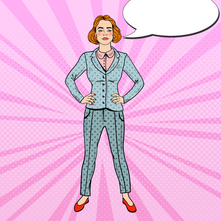 confident: Pop Art Elegant Confident Successful Business Woman. Vector illustration