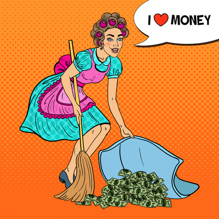 Pop Art Young Housewife Hiding Money Under the Rug. Vector illustration