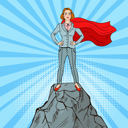 Pop Art Confident Business Woman Super Hero in Suit with Red Cape Standing on the Mountain Peak. Vector illustration Vectores