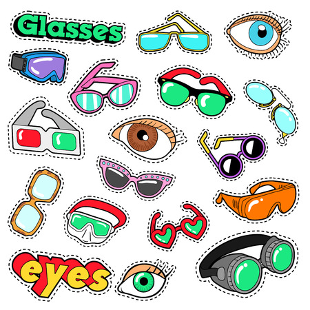 Glasses and Eyes Decorative Elements for Scrapbook, Stickers, Patches, Badges. Vector Doodle