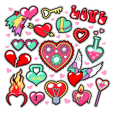 Hearts Love Badges, Stickers, Patches for Romatic Scrapbook Design. Vector illustration Illustration