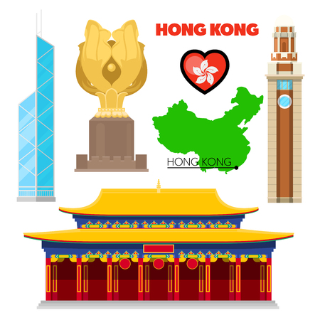 Hong Kong China Travel Doodle with Architecture, Bauhinia and Flag. Vector illustration Illustration