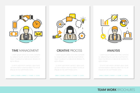 teamworking: Business Team Work Brochure Template with Line Art Thin Vector Icons