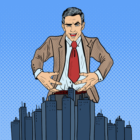 sinister: Pop Art Sinister Businessman Wants to Seize the City. Vector illustration