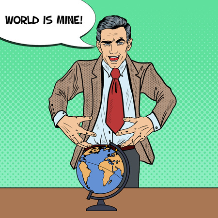 sinister: Pop Art Sinister Businessman Wants to Seize the World. Vector illustration