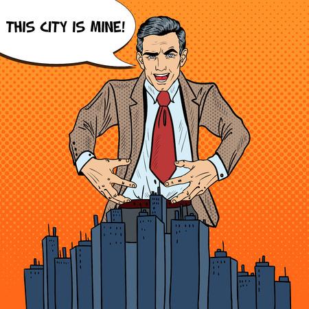 venganza: Arte pop siniestro hombre de negocios quiere apoderarse de la ciudad. ilustración vectorial Vectores