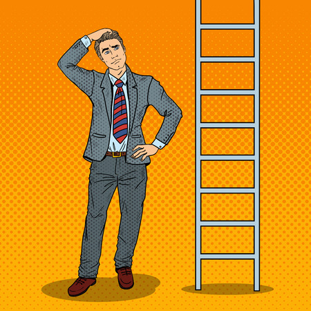 ladder: Pop Art Doubtful Businessman Looking Up at Ladder. Vector illustration