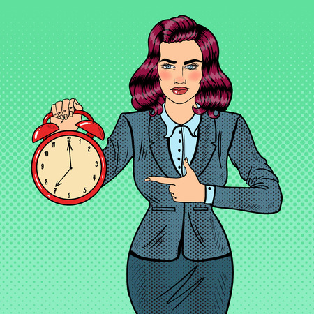 Pop Art Business Woman Holding Alarm Clock. Time to Work. Vector illustration