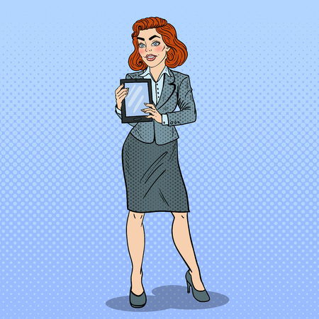 woman tablet: Pop Art Beautiful Business Woman Holding Digital Tablet. Vector illustration