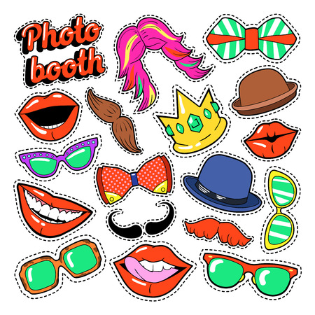 Photo Booth Party Set with Glasses, Mustache, Hats and Lips for Stickers and Props. Vector Doodle Vettoriali