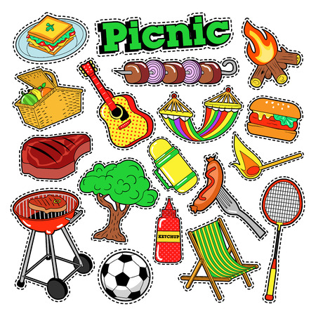patches: Picnic BBQ Doodle Stickers, Badges, Patches for Scrapbooking. Vector illustration