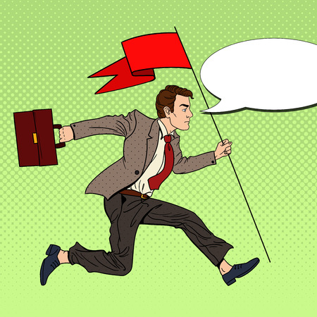 Pop Art Businessman Running with Red Flag to Success. Vector illustration