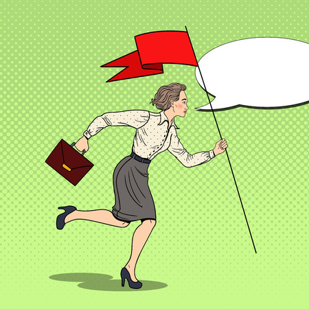 Pop Art Business Woman Running with Red Flag to Success. Vector illustration Illustration