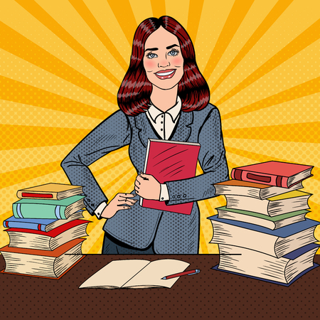 smart woman: Pop Art Young Happy Woman with Book Standing in Front of Library Table. Vector illustration