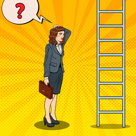 Pop Art Doubtful Business Woman Looking Up at Ladder. Vector illustration Illustration