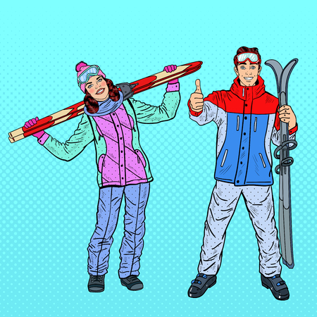 retro fashion: Pop Art Happy Woman and Man with Ski on Winter Holidays. Vector illustration Illustration