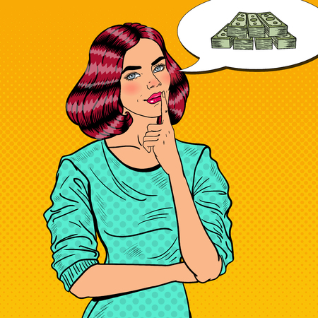pondering: Pop Art Young Beautiful Woman Thinking about Money. Vector illustration
