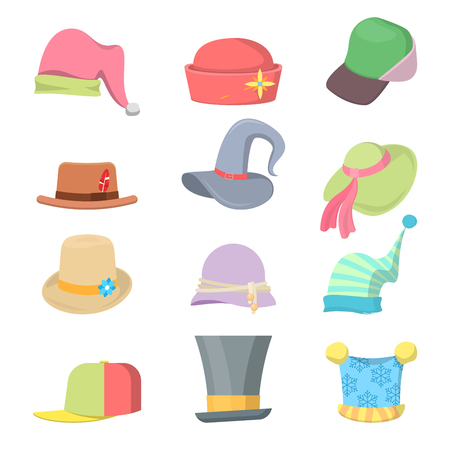 Headwear Collection Hats Set. Vector illustration