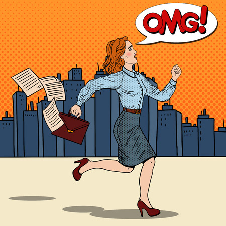 Pop Art Business Woman with Briefcase Running to Work. Vector illustration