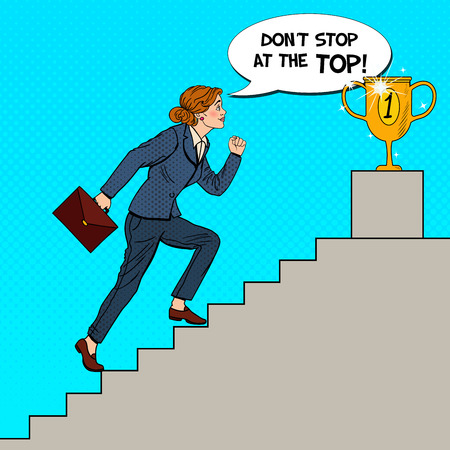 Pop Art Business Woman Walking Up Stairs to Golden Cup. Vector illustration Illustration