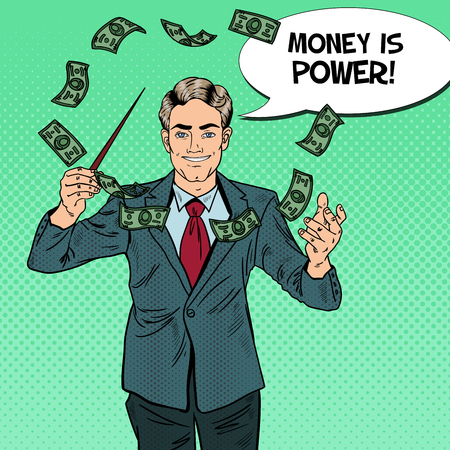 spells: Pop Art Businessman Conducts Money with a Baton. Vector illustration Illustration