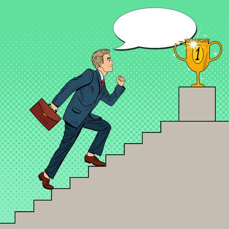 businessman walking: Pop Art Businessman Walking Up Stairs to Golden Cup. Vector illustration