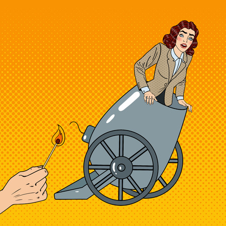 terrified woman: Pop Art Cannon Business Woman Gets Fired. Vector illustration