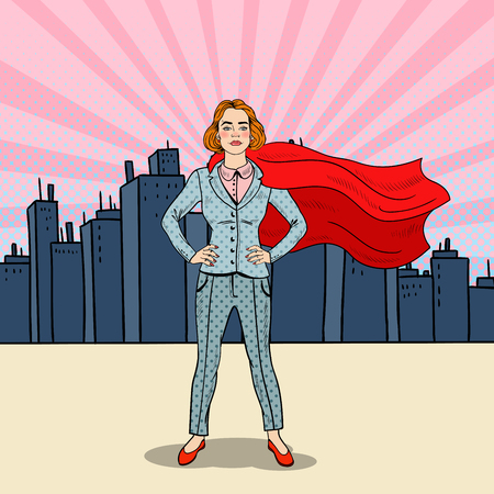 business suit: Pop Art Confident Business Woman Super Hero in Suit with Red Cape
