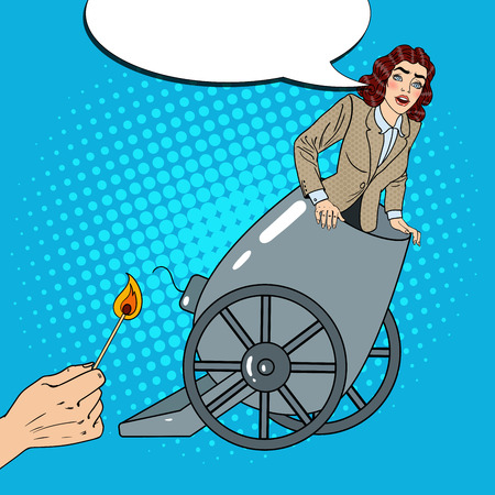 Pop Art Cannon Business Woman Gets Fired. Vector illustration