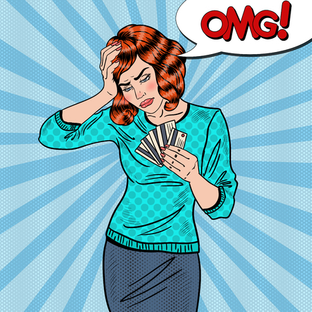 Pop Art Upset Woman with Credit Cards has a Headache. Vector illustration