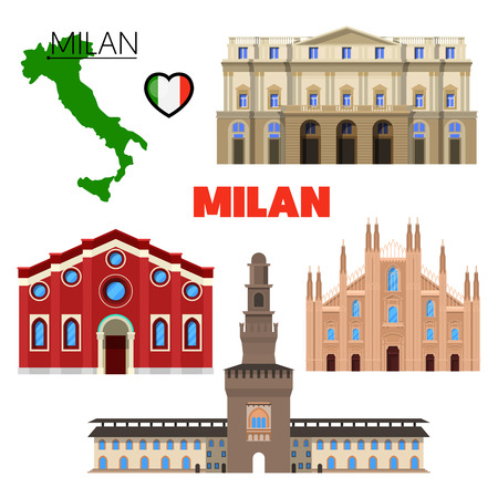 Milan Italy Travel Doodle with Architecture, Map and Flag. Vector illustration