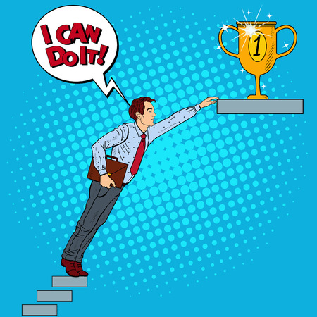 Pop Art Businessman Hard Trying to Reach the Goal. Vector illustration