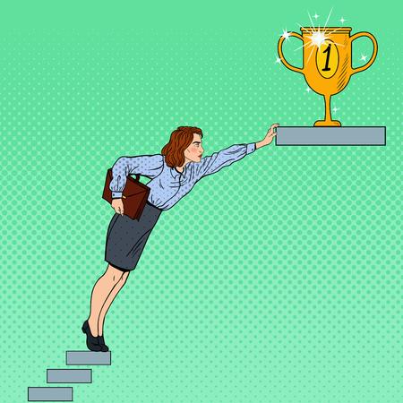 Arte pop de negocios Mujer duro tratando de llegar a la meta. ilustración vectorial